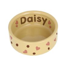 Personalised Dog Gifts: Dotty Heart Medium Brown Pet Bowl